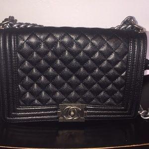 Authentic Channel.  black caviar leather